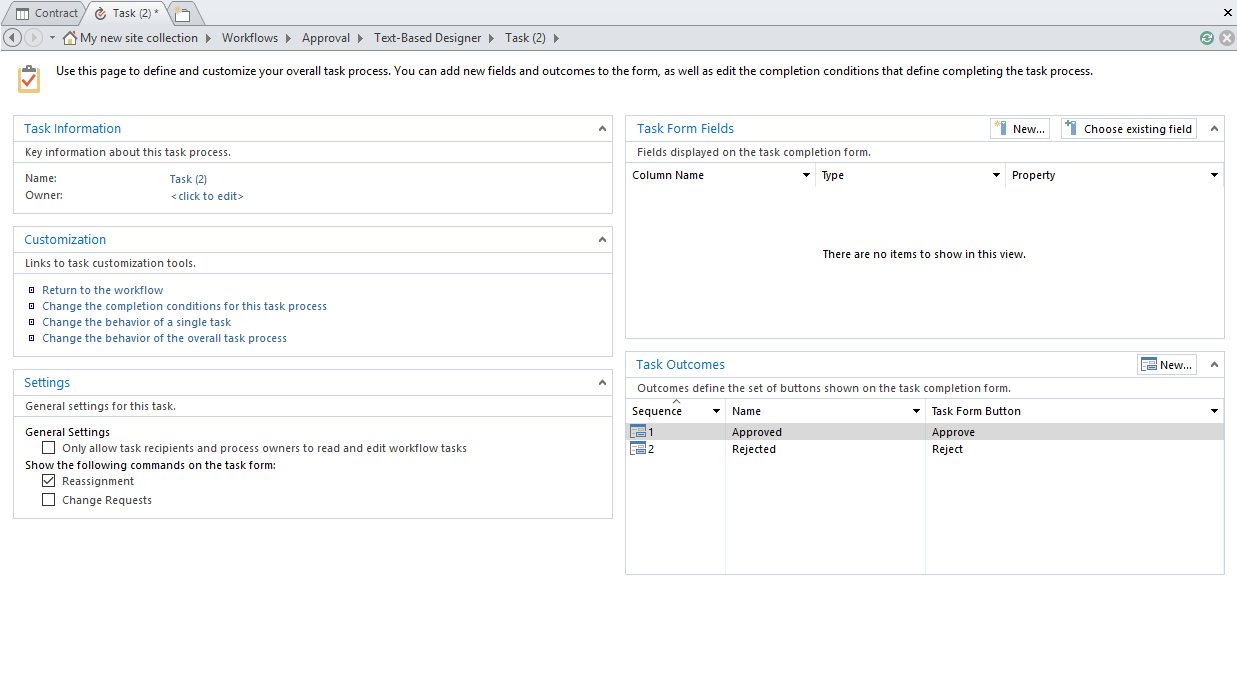 custom task process configuration