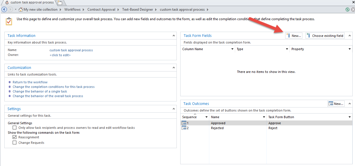 3 Task process configuration panel