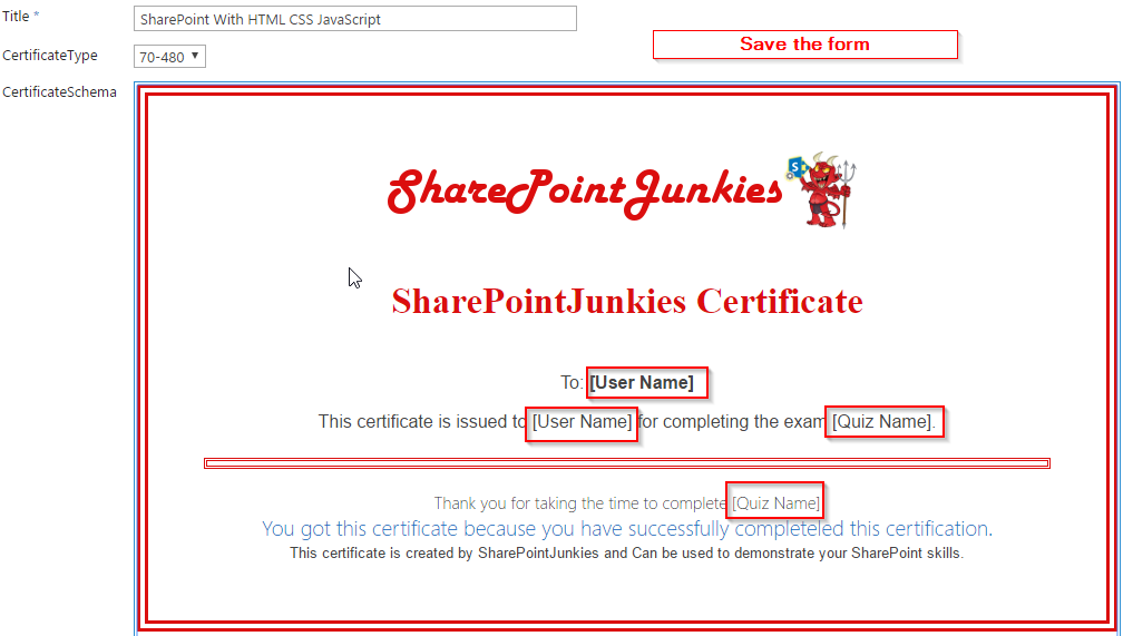 Html Based Certificate Generation Using Rest Api In Sharepoint